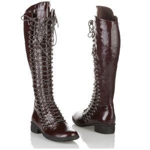 Chocolat Blu triple lace up boots size 6